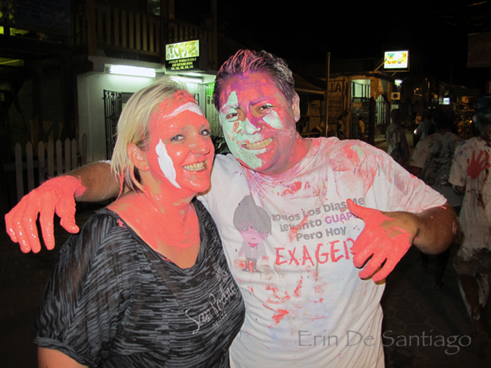 Getting painted at Carnaval in San Pedro.